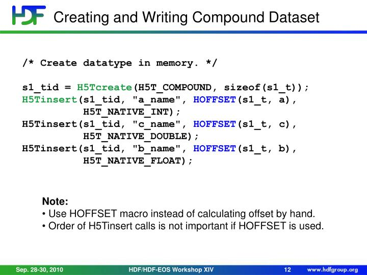 Creating and Writing Compound Dataset