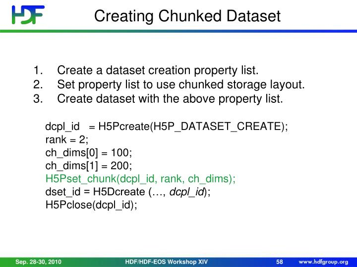 Creating Chunked Dataset