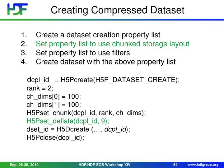 Creating Compressed Dataset