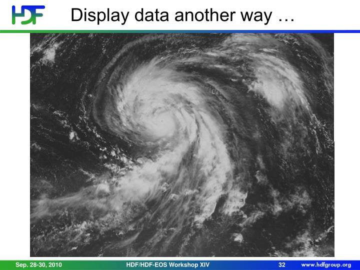 Display data another way …