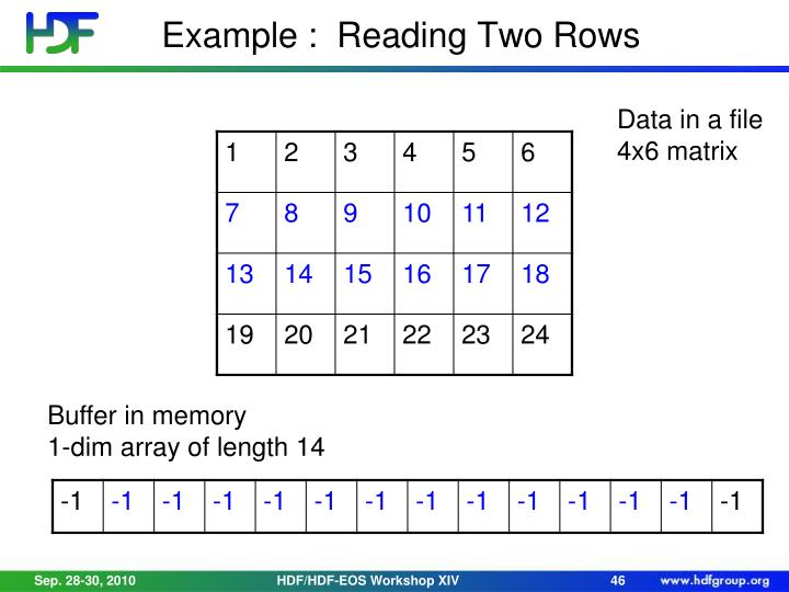 Example :  Reading Two Rows