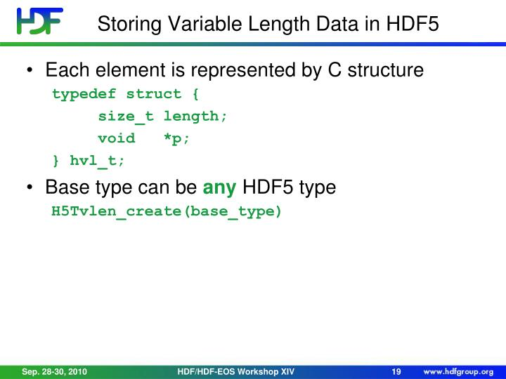 Storing Variable Length Data in HDF5