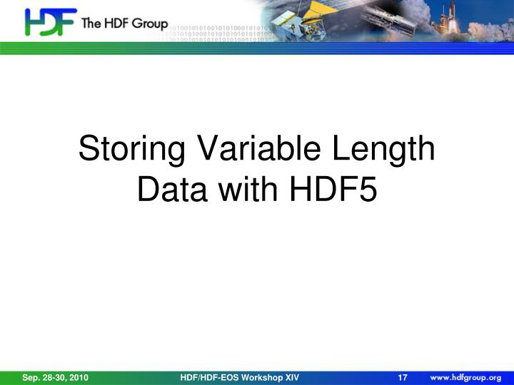 Storing Variable Length Data with HDF5