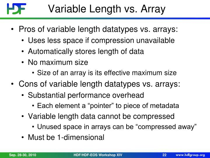 Variable Length vs. Array