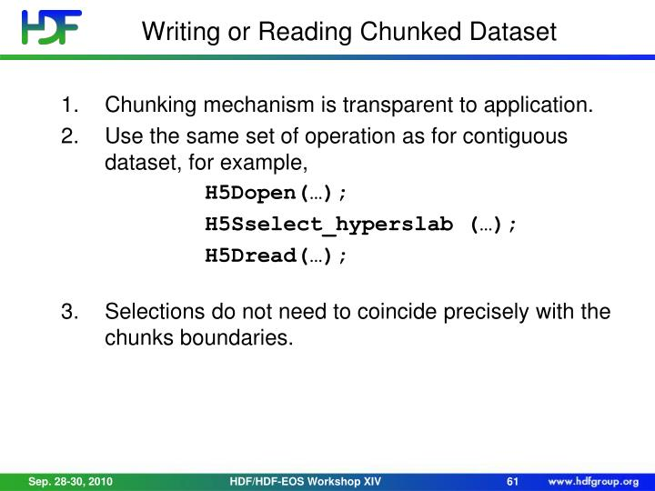 Writing or Reading Chunked Dataset