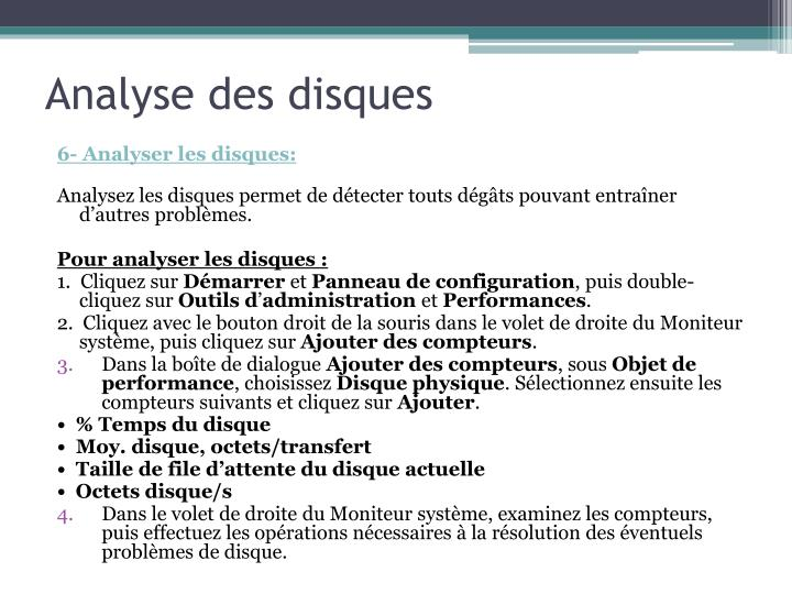 Analyse des disques