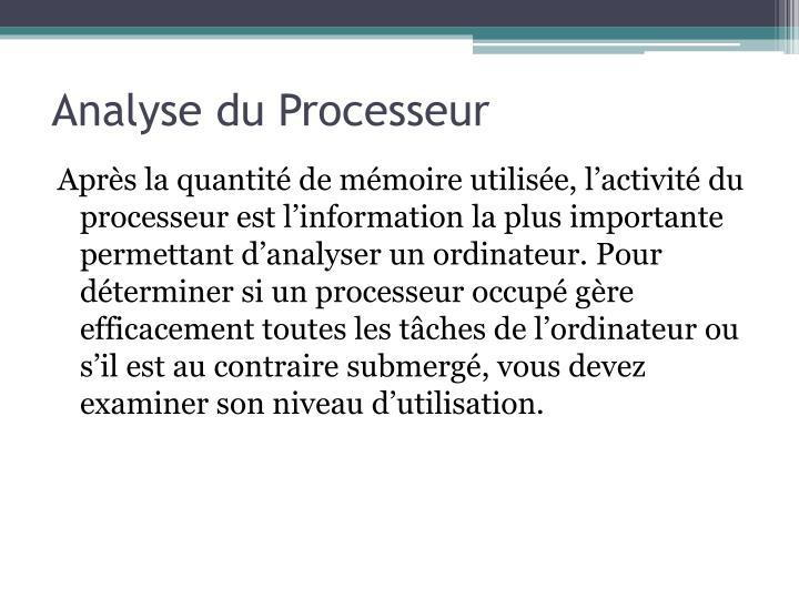 Analyse du Processeur