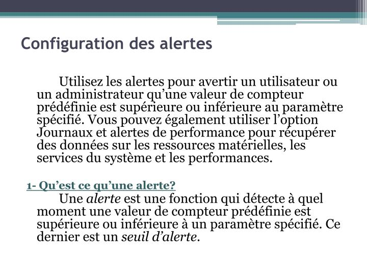 Configuration des alertes