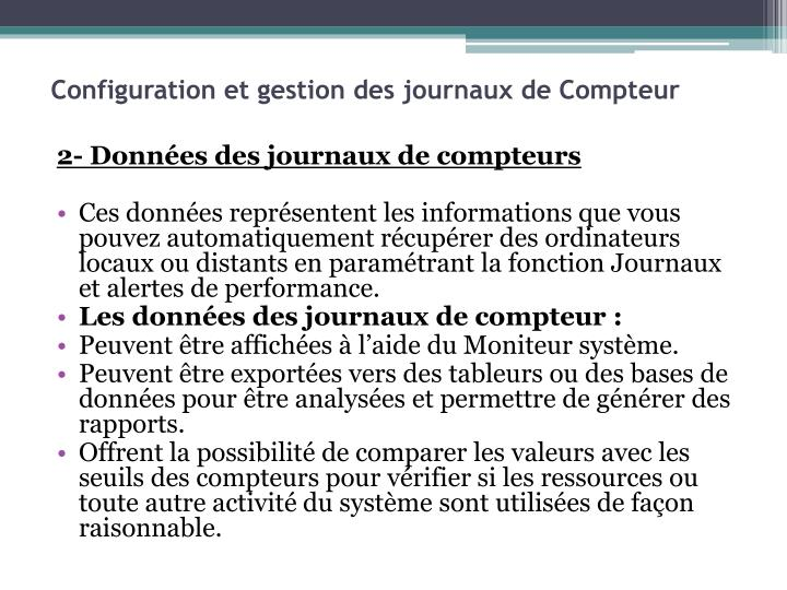Configuration et gestion des journaux de Compteur