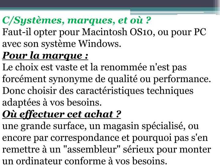 C/Systmes, marques, et o ?