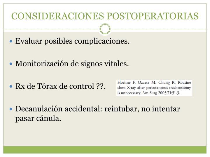CONSIDERACIONES POSTOPERATORIAS