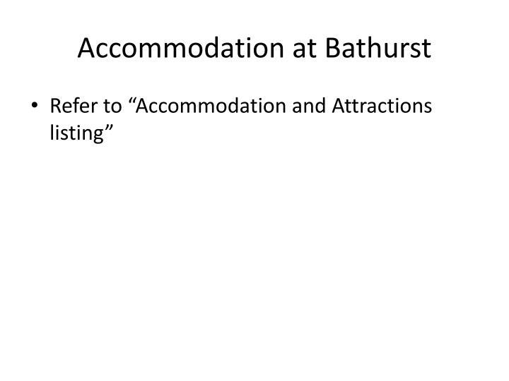 Accommodation at Bathurst