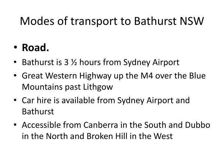 Modes of transport to Bathurst NSW