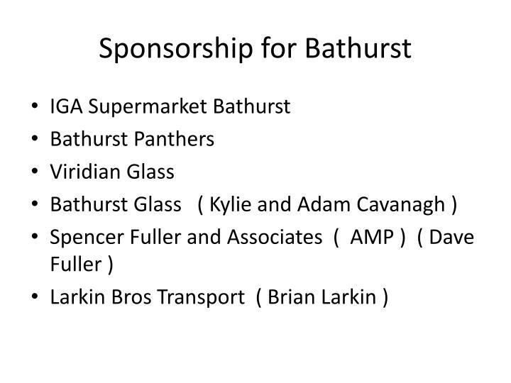 Sponsorship for Bathurst