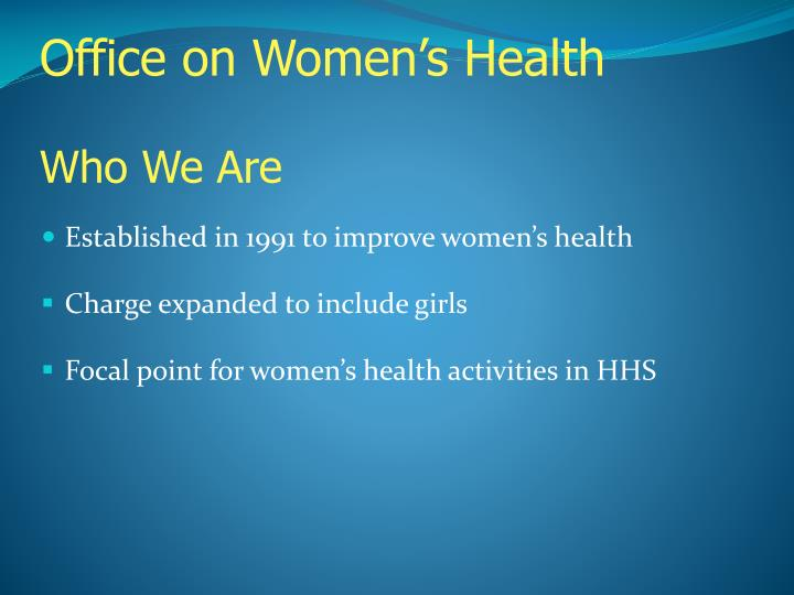 Office on women s health who we are