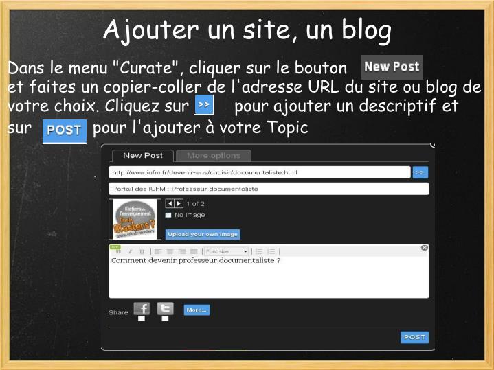 Ajouter un site, un blog