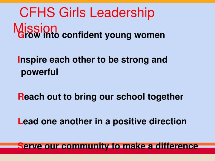 CFHS Girls Leadership Mission