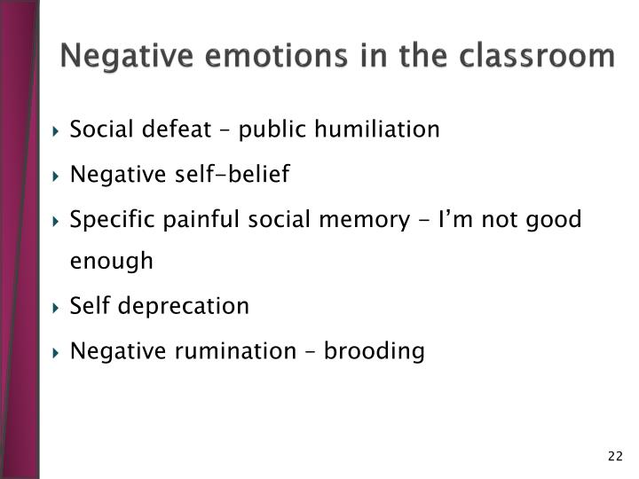 Negative emotions in the classroom