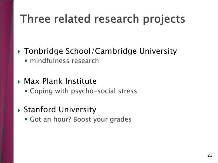 Three related research projects