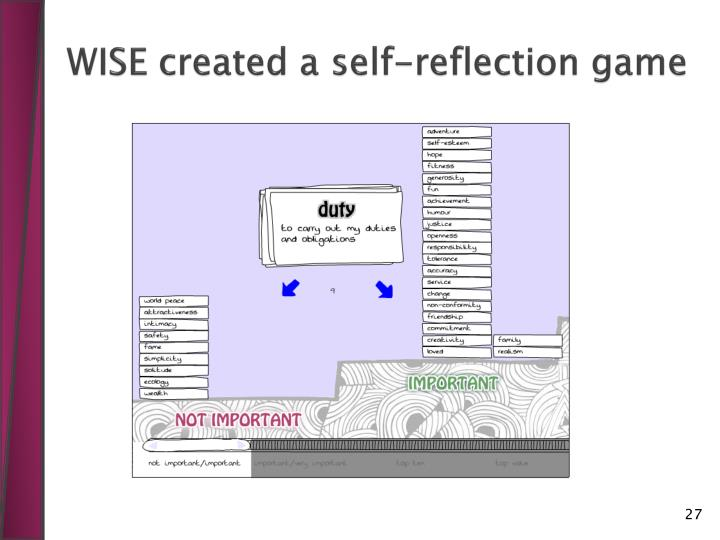 WISE created a self-reflection game
