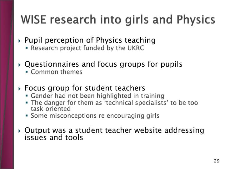 WISE research into girls and Physics