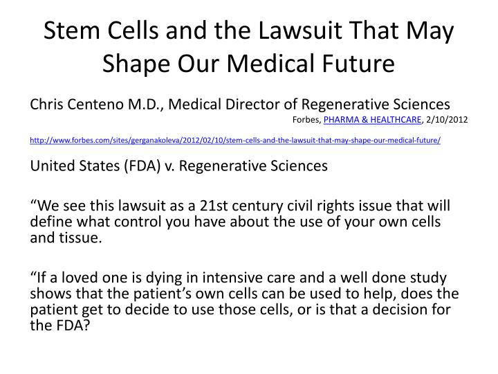 Stem Cells and the Lawsuit That May Shape Our Medical Future