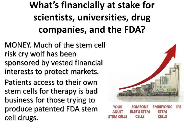 What's financially at stake for scientists, universities, drug companies, and the FDA?