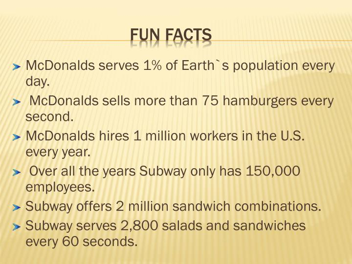 McDonalds serves 1% of Earth`s population every day.