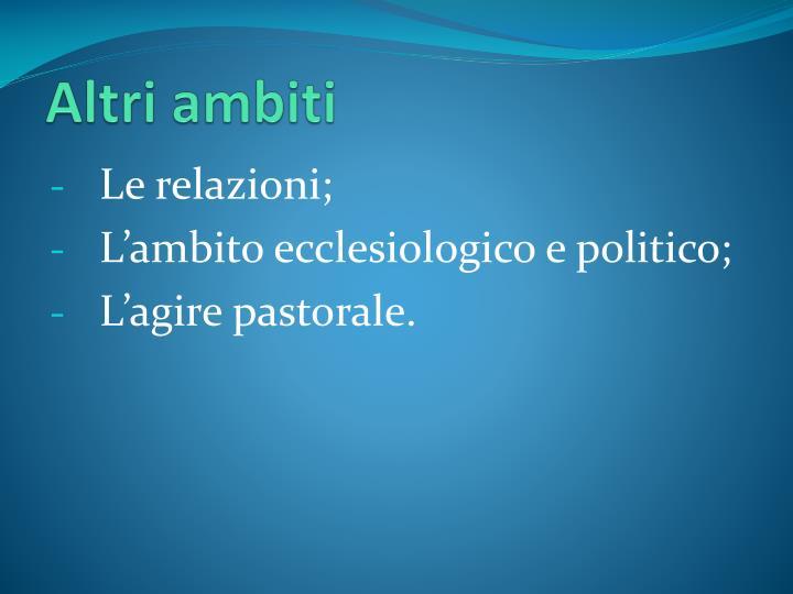 Altri ambiti