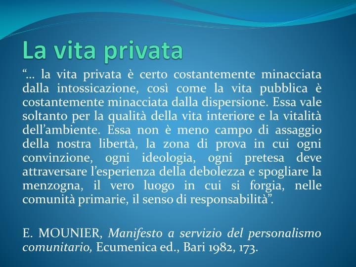 La vita privata