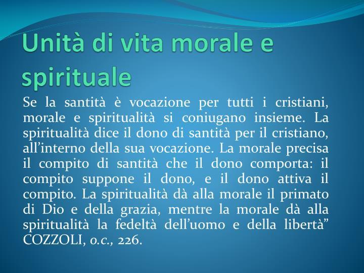 Unità di vita morale e spirituale