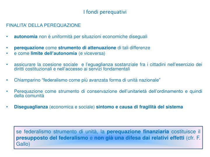 I fondi perequativi