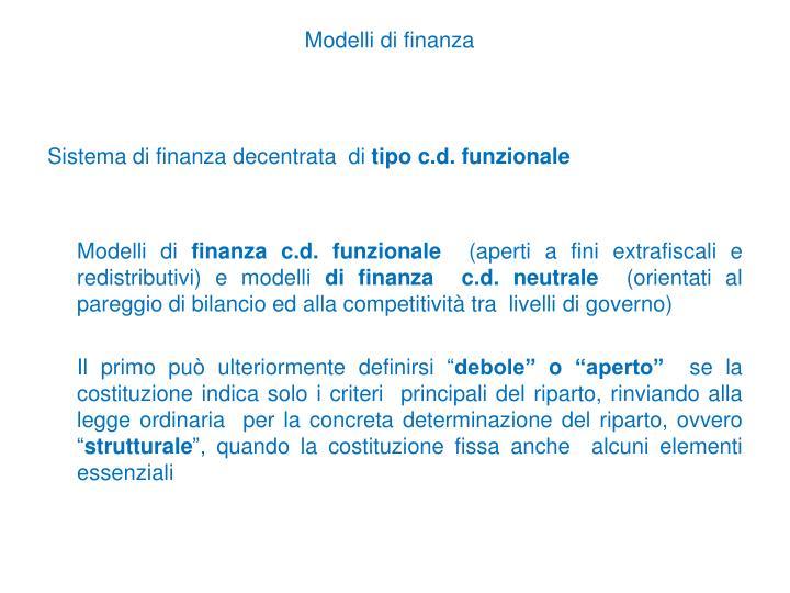 Modelli di finanza