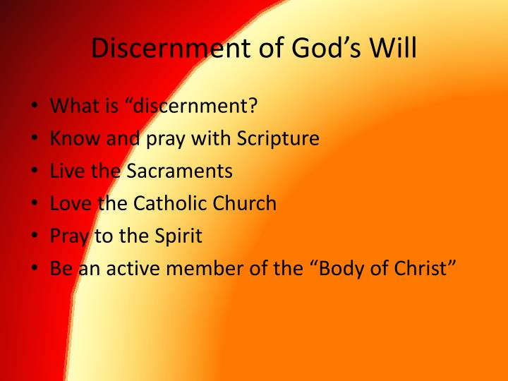 Discernment of God's Will