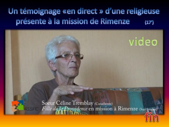 Un témoignage «en direct» d'une religieuse