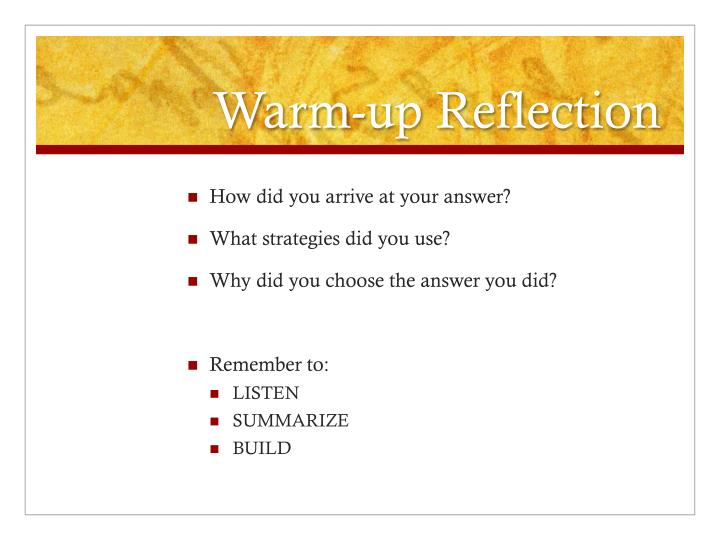 Warm up reflection