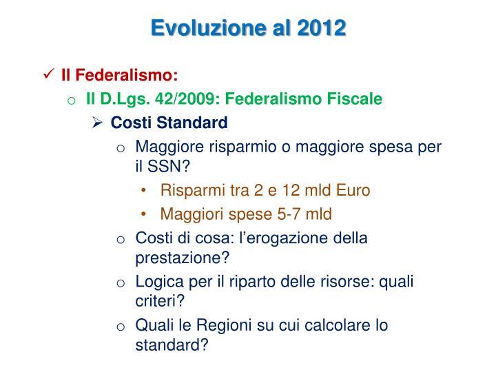 Evoluzione al 2012