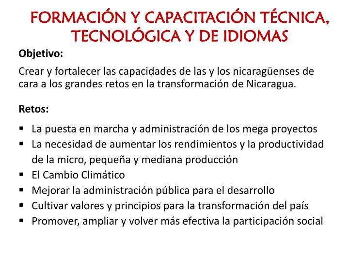FORMACIÓN Y CAPACITACIÓN TÉCNICA, TECNOLÓGICA Y DE IDIOMAS