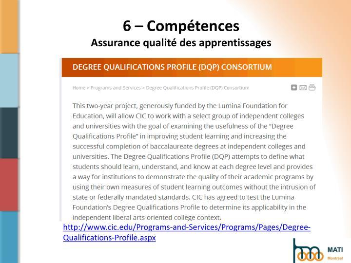 6 – Compétences