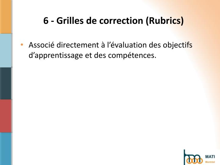 6 - Grilles de correction (