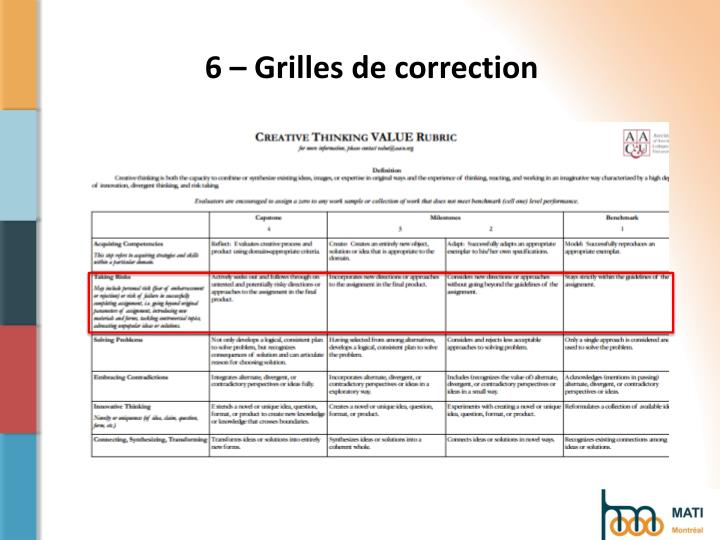 6 – Grilles de correction