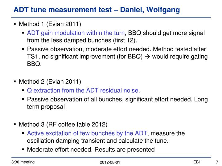ADT tune measurement