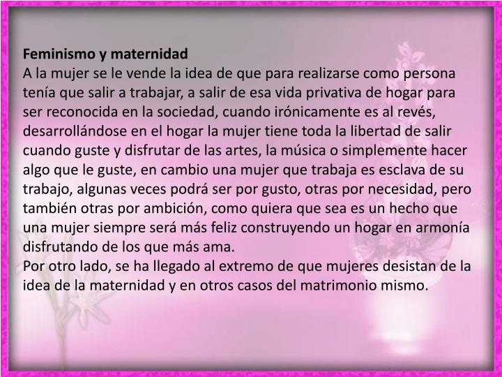Feminismo y maternidad