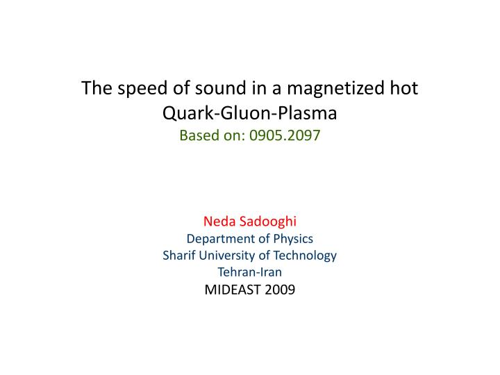 The speed of sound in a magnetized hot quark gluon plasma based on 0905 2097