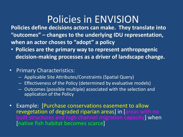 Policies in ENVISION