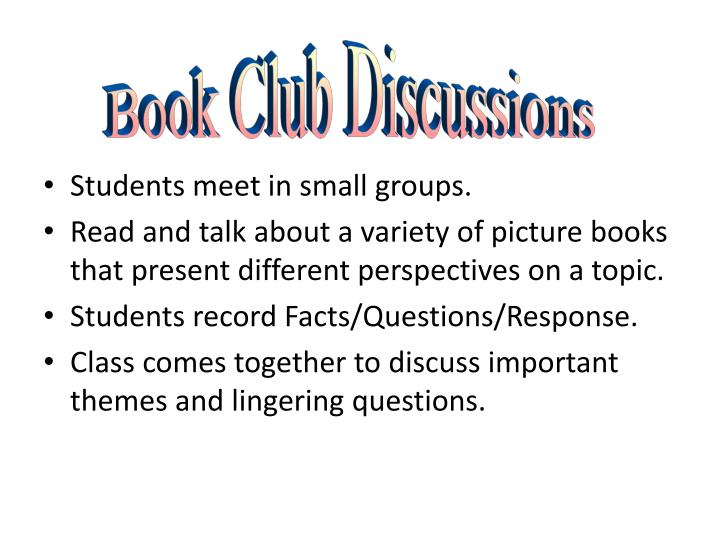 Students meet in small groups.