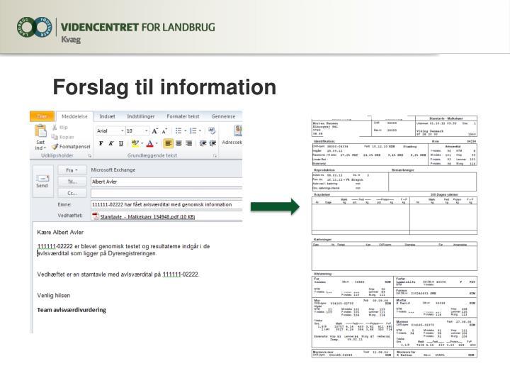 Forslag til information