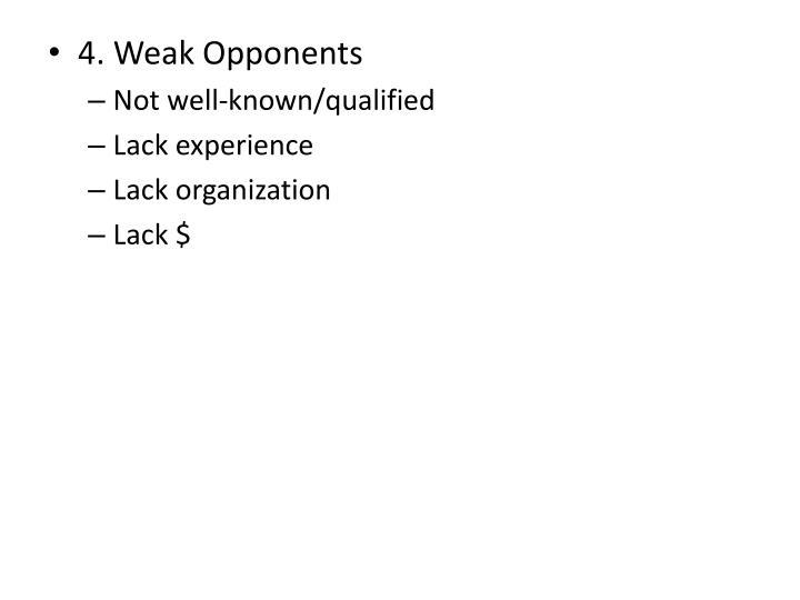 4. Weak Opponents