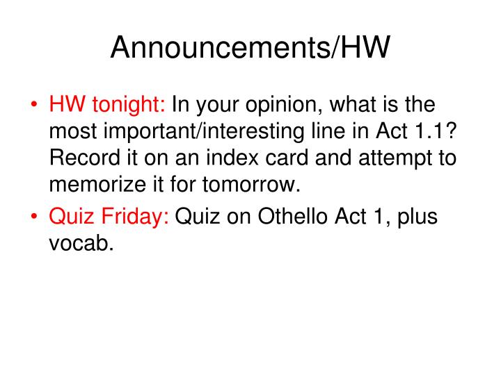 Announcements hw