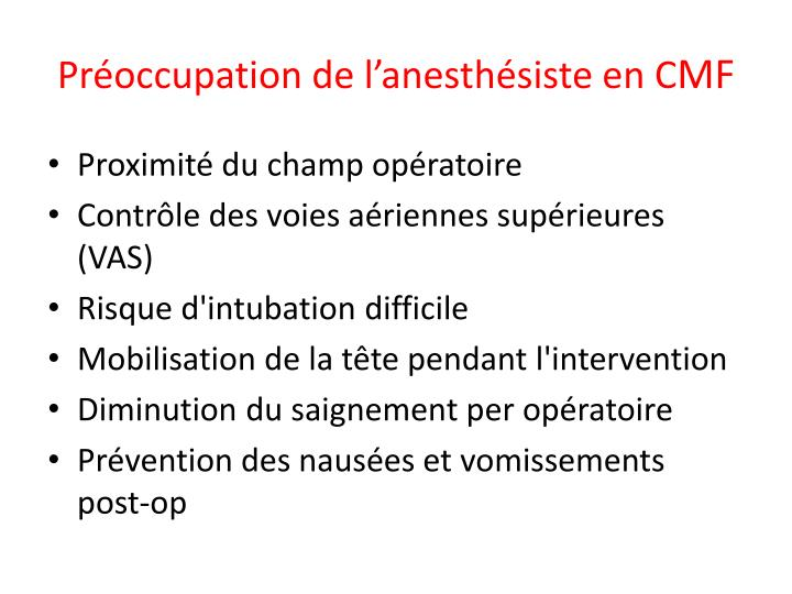 Pr occupation de l anesth siste en c mf